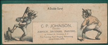 "1880s Baseball Trade Card, Ink Blotter, Large, ""A Double Curve"""