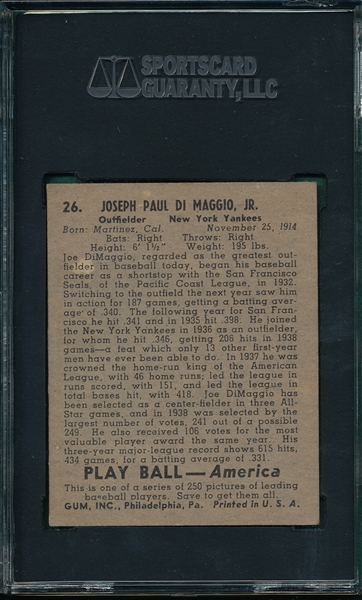 1939 Play Ball #26 Joe DiMaggio SGC 60