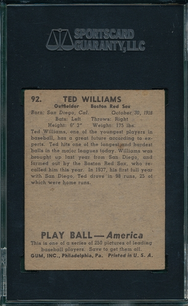 1939 Play Ball #92 Ted Williams SGC 40