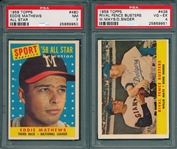 1958 Topps #436 Fence Busters & #480 Mathews AS, (2) Card Lot PSA