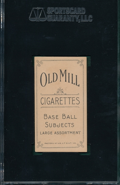 1909-1911 T206 Leach, Hands on Knees, Old Mill Cigarettes SGC 80