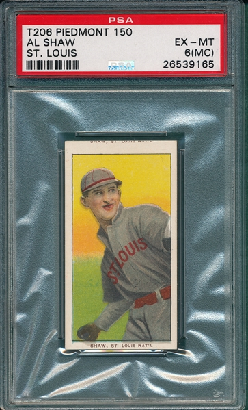 1909-1911 T206 Shaw Piedmont Cigarettes PSA 6 (MC) *Double Name*