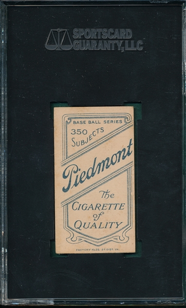 1909-1911 T206 Demmitt, NY, Piedmont Cigarettes SGC 40 *Presents Much Better*