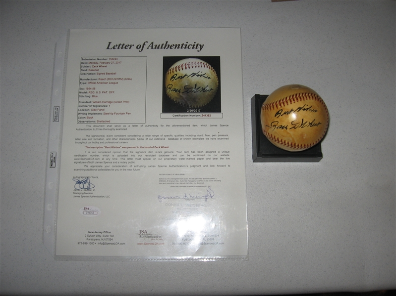 Zach Wheat Signed Reach Baseball JSA Authentic
