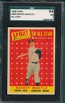 1958 Topps #487 Mickey Mantle, AS SGC 84