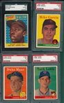 1958 Topps Lot of (4) W/ #488 Aaron AS, SGC/PSA
