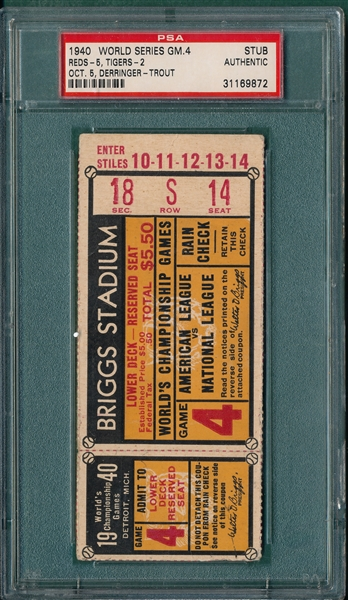1940 WS Game 4 Reds vs Tigers, Ticket Stub, PSA Authentic