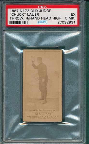 1887 N172 275-2 Chuck Lauer Old Judge Cigarettes PSA 5 (MK)