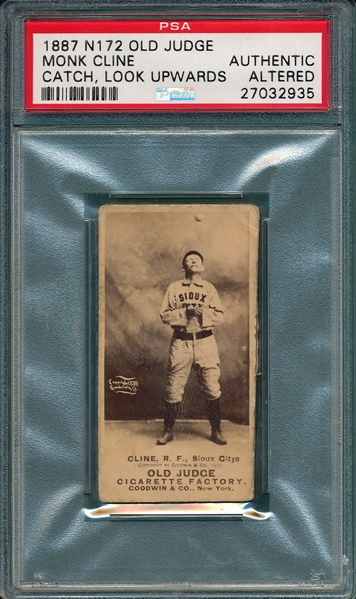1887 N172 081-1 Monk Cline Old Judge Cigarettes PSA Authentic