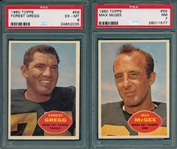 1960 Topps FB#55 McGee PSA 7 & #56 Gregg PSA 6, Lot of (2)