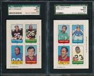 1969 Topps FB 4 in 1 Lot of (10) SGC W/ Lilly 92