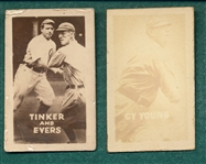 1948 Topps Magic Photo Baseball #16K Cy Young & #18K Tinker/Evers, Lot of (2)