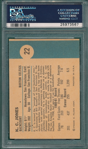 1961 Fleer BSKT #22 K. C. Jones PSA 8 *Rookie*