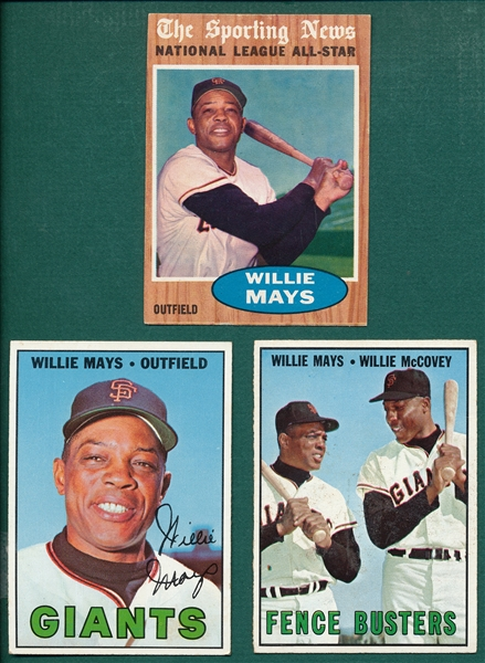 1962/67 Topps Willie Mays Lot of (3)