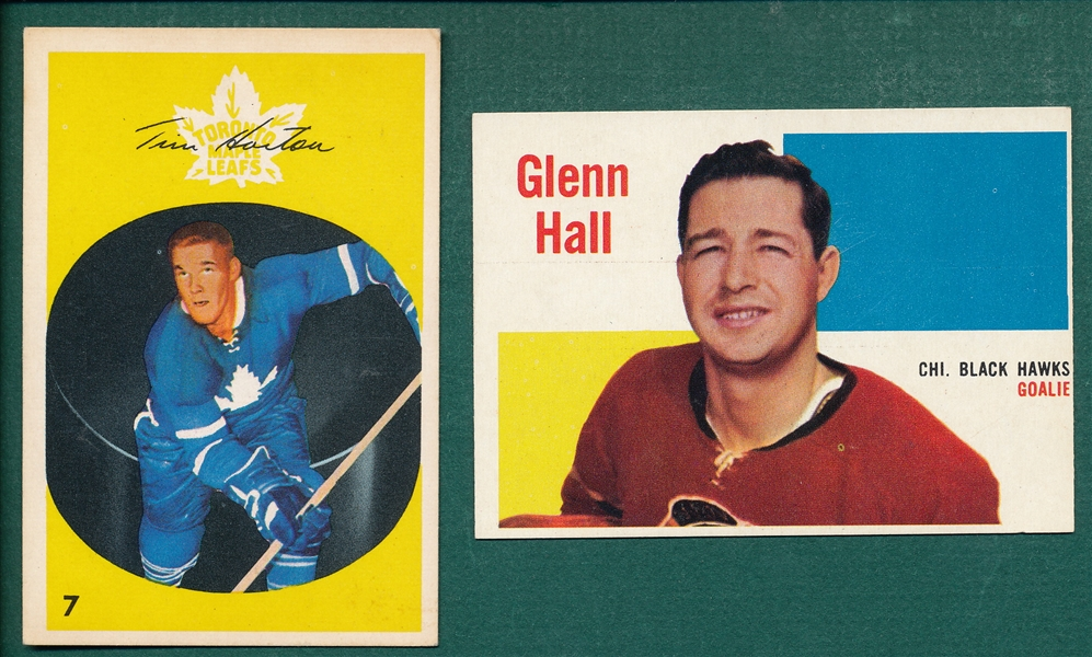 1960 Topps HCKY #25 Hall & 1962 Parkhurst #7 Horton, Lot of (2)