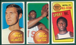 1970-71 Topps BSKT Reed & West Lot of (3)