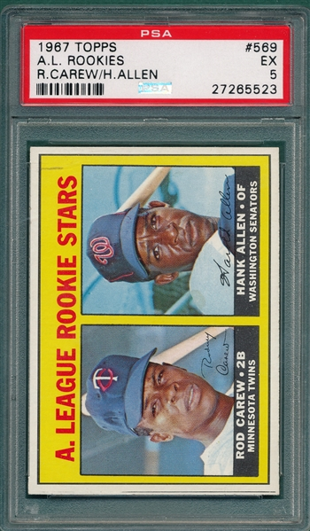 1967 Topps #569 Rod Carew PSA 5 *Rookie*