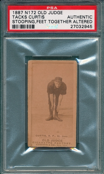 1887 N172 106-1 Tacks Curtis Old Judge Cigarettes PSA Authentic