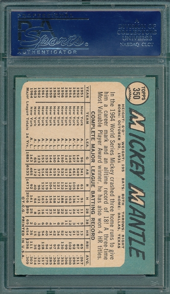1965 Topps #350 Mickey Mantle PSA 6.5