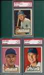 1952 Topps #113 Sisler, #153 Rush & #224 Edwards, Lot of (3), PSA 6 (OC)