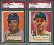 1952 Topps #3 Thompson & #236 Fitzgerald, Lot of (2) PSA