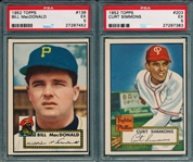 1952 Topps #138 MacDonald & #203 Simmons, Lot of (2) PSA 5