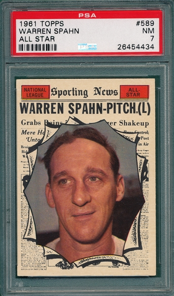 1961 Topps #589 Warren Spahn, AS PSA 7 *Hi #*