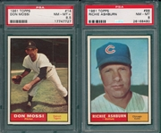 1961 Topps #88 Ashburn PSA 8 & #14 Mossi PSA 8.5, Lot of (2)