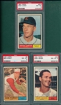 1961 Topps #9 Purkey, #33 Geiger & #518 Carey, Lot of (3) PSA 8