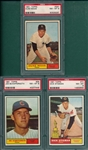 1961 Topps #58 Schaffernoth, #77 Stigman and #387 Maas, Lot of (3) PSA 8