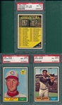 1961 Topps #273 Checklist, #292 Baumer & #339 Baker, Lot of (3) PSA 8