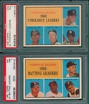 1961 Topps #41 NL Batting Leaders & #49 NL Strike Out Leaders, Lot of (2) PSA 7