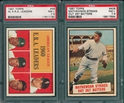 1961 Topps #46 AL ERA Leaders & #408 BT Mathewson, Lot of (2) PSA 7.5