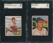 1950 Bowman #245 Papai SGC 80 & #176 Donnelly SGC 88, Lot of (2)
