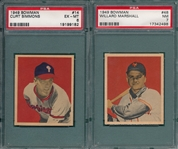 1949 Bowman #14 Simmons, Rookie, & #48 Marshall PSA 7, Lot of (2)