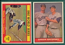 1961 Topps #207 Dodgers Southpaws W/ Koufax & #307 WS Game #2 W/ Mantle, Lot of (2)