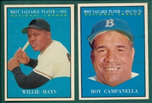 1961 Topps #480 Mays, MVP & #482 Campanella, MVP, Lot of (2)