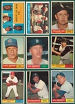 1961 Topps Lot of (9) W/ #43 NL HR Leaders W/ Aaron, *High Grade*