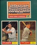 1961 Topps Lot of (3) Yankees, #180 Richardson, #228 Team & #265 Kubek *High Grade*