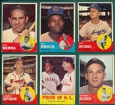 1963 Topps Lot of (66) W/ Hi #s, Brock & Berra
