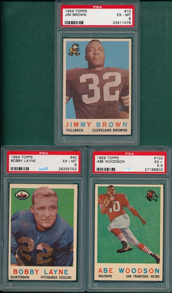 1959 Topps Football Complete Set (176) W/ Jim Brown PSA 6