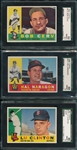 1960 Topps #231 Naragon & #533 Clinton, Hi #, SGC 88s Plus #415 Cerv SGC 92, Lot of (3)