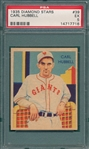 1934-36 Diamond Stars #39 Carl Hubbell PSA 5
