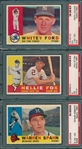 1960 Topps #35 Ford, #100 Fox & #445 Spahn, (3) Card Lot PSA
