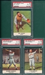 1961 Golden Press #7 Hornsby, #23 McGraw & #27 Dickey, Lot of (3) PSA 8