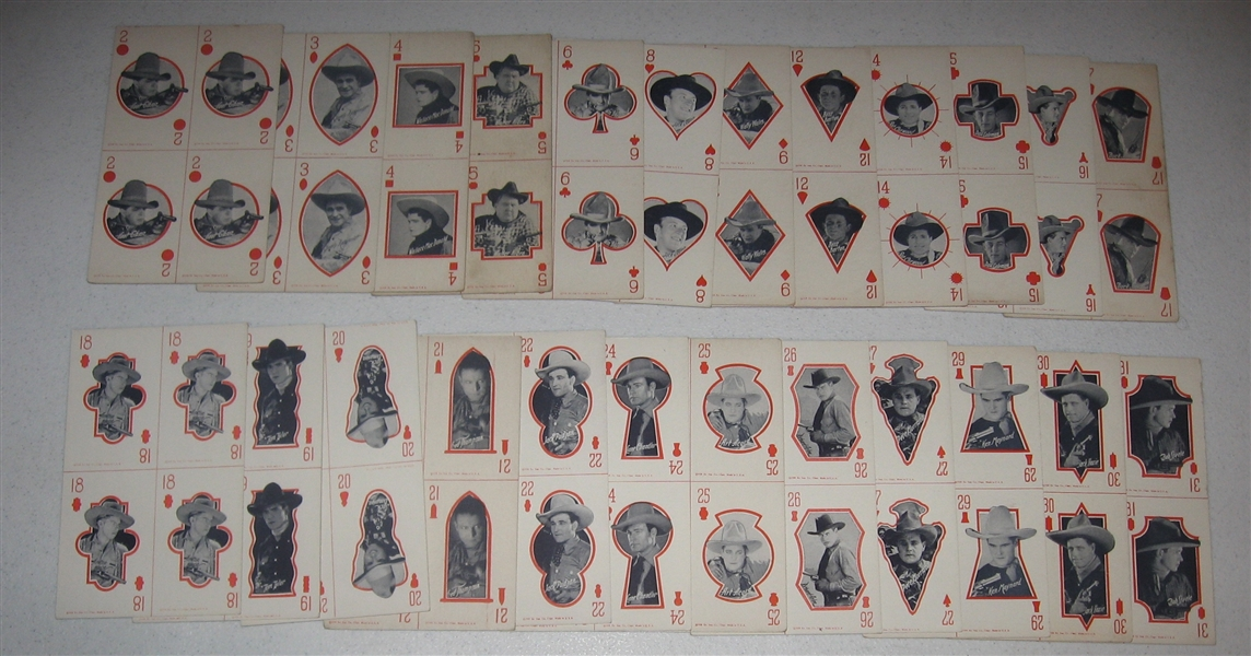 1928 Exhibit Western Stars Arcade Cards Matching Game Partial Set (28/32)