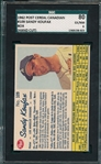 1962 Post Cereal Canadian #109 Sandy Koufax SGC 80