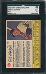 1962 Post Cereal Canadian #101 Gil Hodges SGC 86