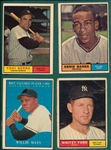 1961 Topps Lot of (4) HOFers W/ Banks, Ford, Mays & Berra