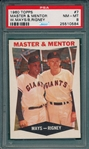 1960 Topps #7 Master & Mentor W/ Willie Mays PSA 8